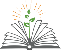 The library's logo features an illustration of a green, leafy plant growing up from an open book.